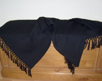 Made to Order Throw, Hand Woven Black Cotton Blanket, Afghan, Small Throw, Lap Blanket, Knee Blanket, Free Shipping
