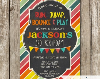 Bright Colors Little Gym Birthday Party Invitation - Bounce House Birthday Party Invitation - Run Jump Bounce and Play Party Invitation