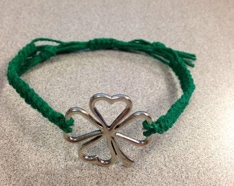 Clover Charm Hemp Bracelet (custom)