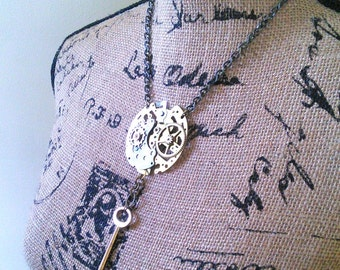 REDUCED PRICE Deconstructed Steampunk Skeleton Key Clock Necklace Clockpunk Vintage Womens Accessory Handmade Unique Gift Dangle Brass Gears
