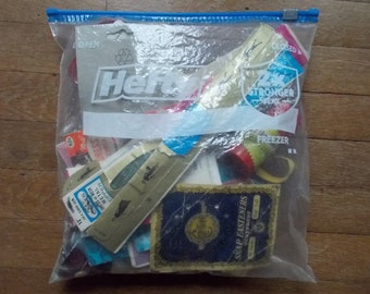 Bag of Sewing Notions, Buttons Snaps Zippers,   vintage
