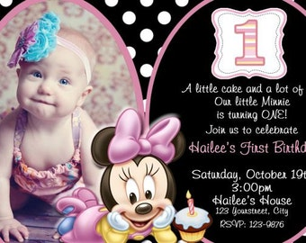 Baby Minnie First Birthday Invitation, First Birthday Minnie Invitation, 1st Baby Minnie Invitation, 1st Birthday, Polka Dot, Minnie Mouse