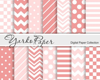 Coral Pink And Blush Digital Paper Pack, Chevron, Polka Dot, Stripes, Basic Geometric Paper, Digital Background, 14 Sheets -Instant Download