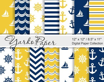 Yellow And Navy Blue Nautical Digital Paper Pack, 12x12, 8.5x11, Chevron, Anchor, Stripes, Geometric, Marine, 14 Sheets - Instant Download