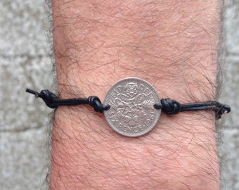 69th, 68th, 67th 66th or 65th birthday gift, 1947, 1948 1949, 1950 or 1951 Sixpence bracelet, knotted leather jewelry, groomsman, good luck