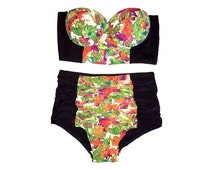Retro Style Floral Print Corset Top & Ruched High Waisted Bikini! Pin-up Swimwear! LIMITED EDITION!