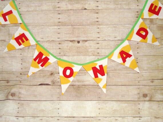 Lemonade Banner - Lemonade stand sign - Lemonade stand banner - summer bunting - lemon yellow flags - yellow ikat - red letters - lemons