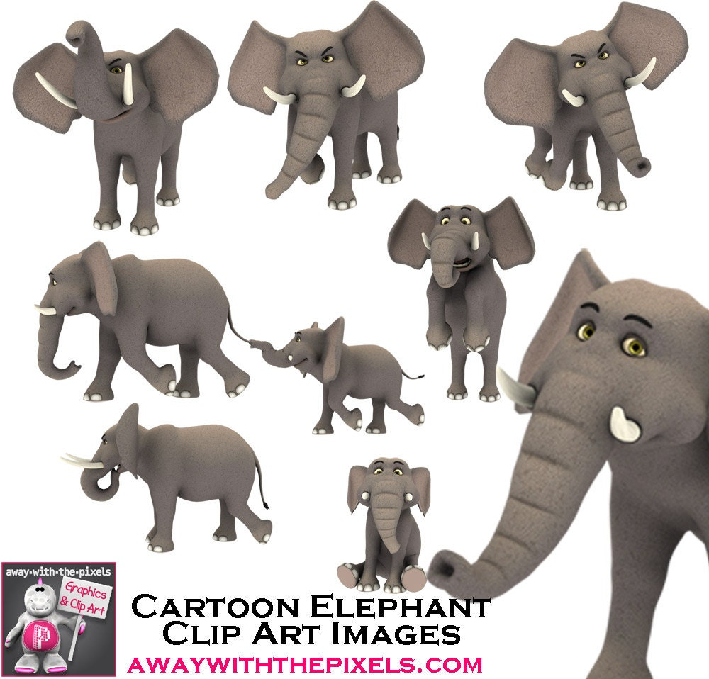 Elephant Family Clip Art Jungle Clipart by AwayWithThePixels