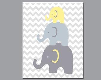 Elephant Nursery Wall Art Print. Baby Girl or Boy Stack of Elephant Wall Art Print. Baby Nursery Wall Decor Print, Yellow and Gray  - N205
