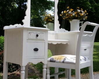Customize a Painted Vanity Dressing Table with Mirror Ladies Desk - SOLD EXAMPLE ONLY Others available...