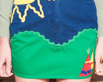 Vintage 90s MOSCHINO Jeans Emroidered TEE PEE Skirt