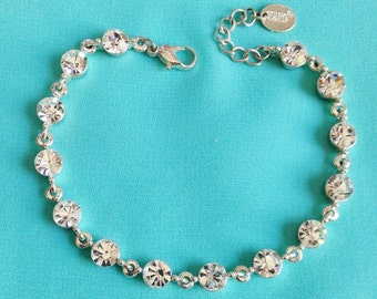 Sparkly Signed 'ICING' Austrian Multi Faceted Clear Crystal on Silver Bracelet