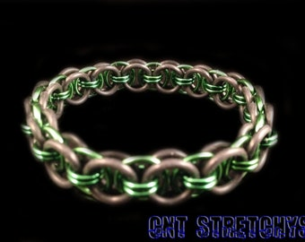 Chainmail Bracelet (Helm Weave) Green Stretchy
