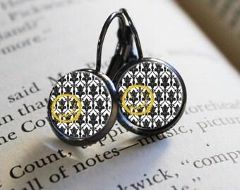 """SHERLOCK  """"Bored! Smiley"""" 12mm Petite Earrings, Sherlock Holmes,Fan Jewelry, Great Gift"""