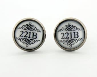 """SHERLOCK  """"221B"""" 12mm Earrings, Sherlock Holmes,Fan Jewelry, Great Gift"""