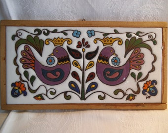 Vintage Hand Decorated Ceramic Tile / Plaque - c. 1970's - Continental