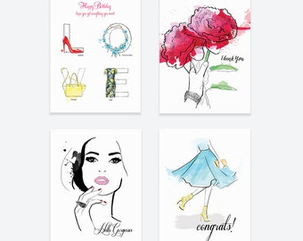 Pretty Lady Assorted Card Set  - Greeting Cards, Fashion Illustration, Thank You Cards, Birthday, Just Because, Congrats