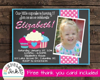 Cupcake First Birthday Invitation - Cupcake 1st Birthday Party Invite - Printable Chalkboard Birthday Invitation