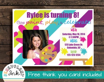 Art Birthday Party Invitation - Painting Printable Party Invite - Artist Theme Birthday Invitation with FREE Thank You Card