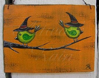 Original Primitive Folk Art Bird Witches Painting On Orange Halloween Eco Decoration