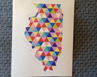 Vinyl Sticker - Illinois - Colorful Hipster Geometric Triangles  - Laptop Sticker - Bumper sticker - Chicago stocking stuffer