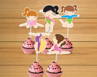Gymnastic party cupcake toppers - set of 24 - Gym girls