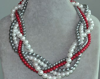 Red Grey White Pearl Necklace,Multiple Pearl Necklaces,Bridesmaids Necklace,Wedding necklace,Bridal Necklace,Maid Of Honor Necklace