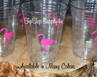 24 flamingo vinyl cups 10 oz. 12 oz. or 16 oz. clear disposable cup. Birthday, flamingo party, beach party theme, party, baby shower. C-217