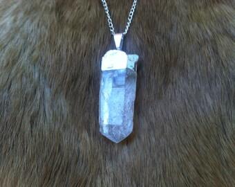 Quartz crystal necklace silver