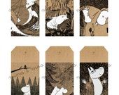 MOOMIN - Printable gift tags - Brown paper tags - DIY Gift tags - DIY - Moomin Clipart - Moomin Illustration - Hand drawn - Retro - Hippo