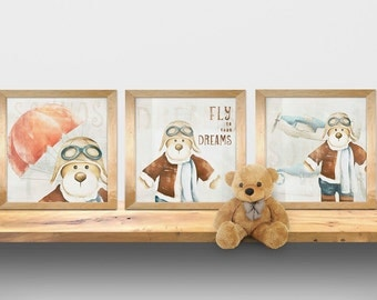 Kids wall art - baby nursery decor - nursery wall art - children wall art - kids teddy bear - blue print - print teddy bear pilot set of 3