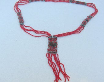 ON SALE !!  Ethnic Beaded Necklace, Folk Necklace, Red Beaded Necklace, Beadwork, Seed Bead Jewelry