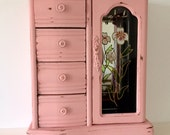 Jewelry armoire, coral / peach, wood