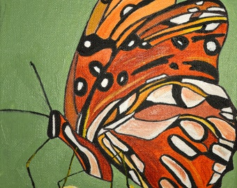 "Original Acrylic Butterfly Painting on Canvas  Titled Butterfly In Orange 08"" X 10"""