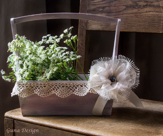 EEedding Flower Girl Basket in Rustic French Shabby Chic Style