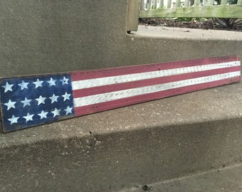 American flag reclaimed wood sign