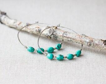 Hammered Turquoise Hoop Earrings