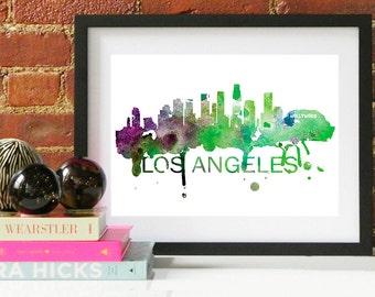 Los Angeles Watercolor Skyline, Los Angeles Skyline, Los Angeles Art, Los Angeles Poster, Los Angeles Print, Los Angeles Art, Los Angeles