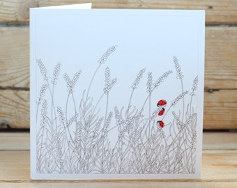 Lavender & Ladybirds Greeting Card
