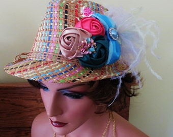 OTT  Ladies Multicolored Festive Fedora Adorned With Flowers