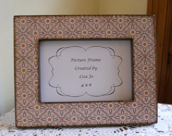 4 x 6 Brown Geometric Floral Decoupage Picture Frame