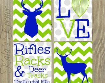 DEER NURSERY ART - Chevron Nursery Prints - Deer Nursery - Nursery Decor - Playroom Art - Kids Wall Art - Deer Art - Blue Green Nursery