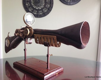 Blunderbuss 18th Century Steampunk wood and brass inlay handmade recycled one of a kind