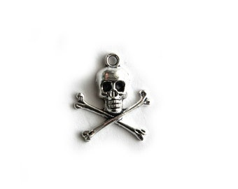 6 Silver Skull and Crossbones Charms