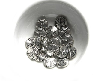 15 Silver Rune Disc Spacer Beads