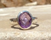 Gemstone Ring, Amethyst Hammered Silver Ring, Oval Stone Ring, Gemstone Silver Ring, Oval Stone Amethyst Gemstone Ring, Gift for Her