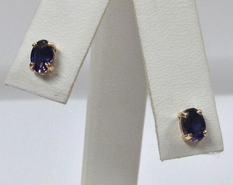 Genuine Iolite Stud Earring 14kt Yellow Gold