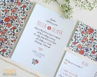 10 X Personalised Wedding Stationary Floral Ditsy Invitation RSVP Custom Design