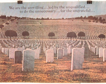 Original Vintage We Are Unwilling Vietnam Anti War Poster