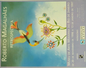 Original Vintage Roberto Magahleas Art Museum Exhibition Poster